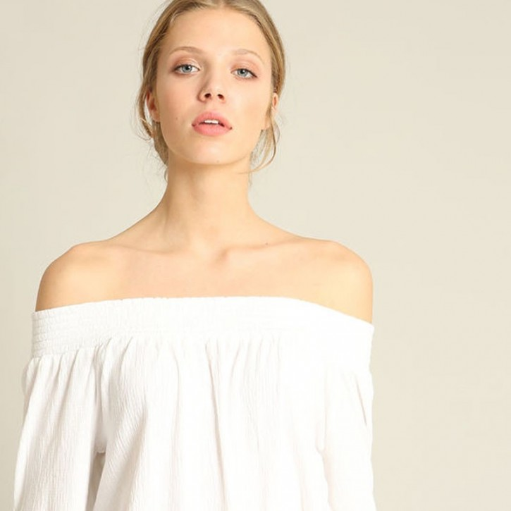 Blouse with bardot collar TITLE BALISE
